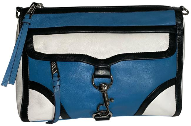 Item - Clutch Color / Blue / White / Black Leather Cross Body Bag