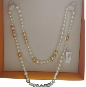 Tory Burch Capped Crystal pearl necklace