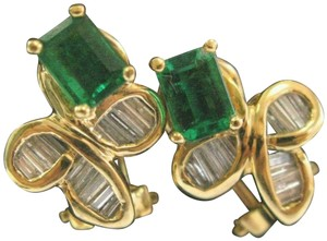 custom Green Emerald & Diamond Huggie Earrings 18Kt Solid Yellow Gold 2.00Ct