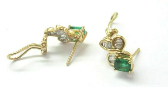 custom Green Emerald & Diamond Huggie Earrings 18Kt Solid Yellow Gold 2.00Ct Image 1
