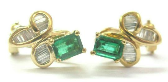 custom Green Emerald & Diamond Huggie Earrings 18Kt Solid Yellow Gold 2.00Ct Image 2