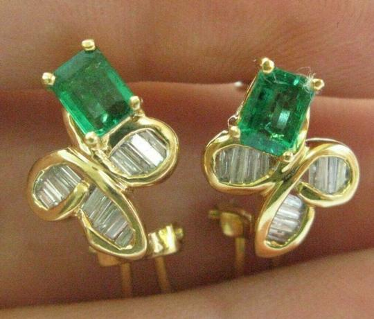 custom Green Emerald & Diamond Huggie Earrings 18Kt Solid Yellow Gold 2.00Ct Image 3