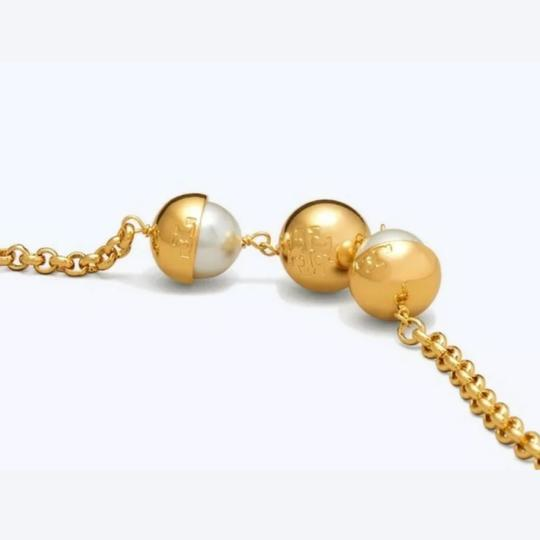 Tory Burch Capped Crystal pearl chain rosary Image 1