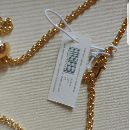 Tory Burch Capped Crystal pearl chain rosary Image 6
