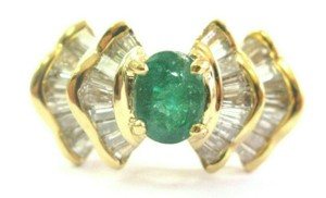 custom Green Emerald & Baguette Diamond Ring Solid 18Kt Yellow Gold 2.07Ct SI