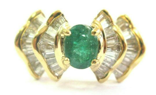 Preload https://img-static.tradesy.com/item/25649778/green-emerald-and-baguette-diamond-solid-18kt-yellow-gold-207ct-si-ring-0-0-540-540.jpg