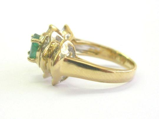 custom Green Emerald & Baguette Diamond Ring Solid 18Kt Yellow Gold 2.07Ct SI Image 1