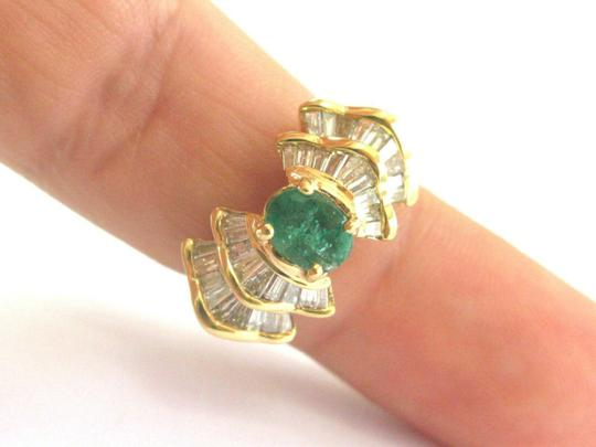 custom Green Emerald & Baguette Diamond Ring Solid 18Kt Yellow Gold 2.07Ct SI Image 2