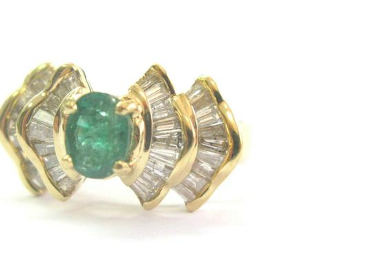 custom Green Emerald & Baguette Diamond Ring Solid 18Kt Yellow Gold 2.07Ct SI Image 3