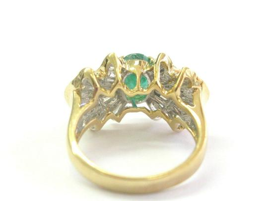custom Green Emerald & Baguette Diamond Ring Solid 18Kt Yellow Gold 2.07Ct SI Image 5