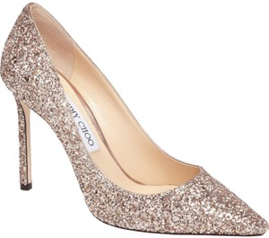 Jimmy Choo Glitter Pointed Toe Pink Gold Pumps