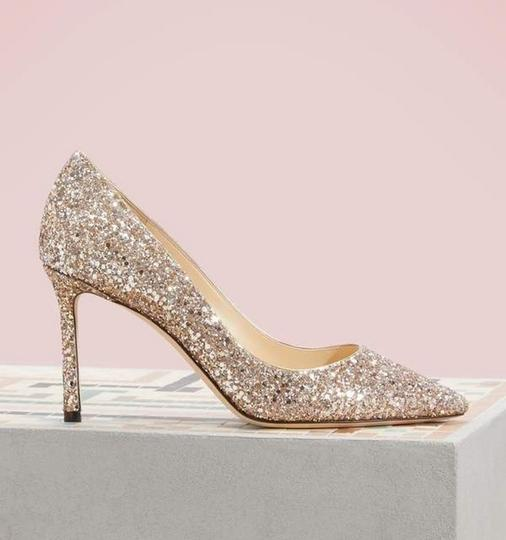 Jimmy Choo Glitter Pointed Toe Pink Gold Pumps Image 1