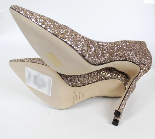 Jimmy Choo Glitter Pointed Toe Pink Gold Pumps Image 10