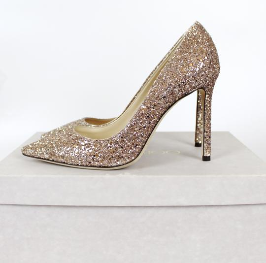 Jimmy Choo Glitter Pointed Toe Pink Gold Pumps Image 2