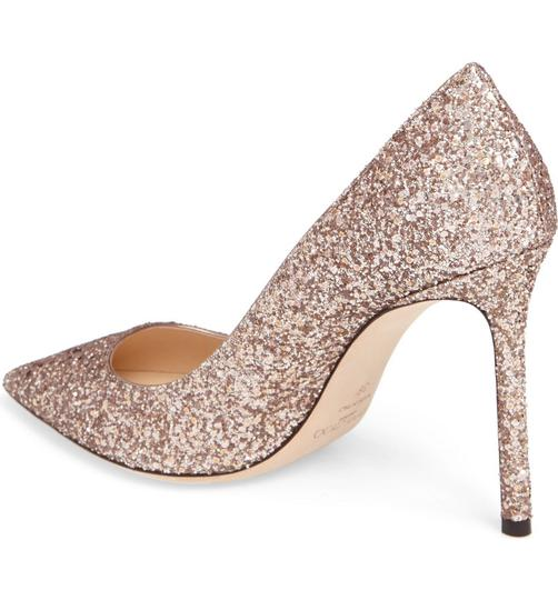 Jimmy Choo Glitter Pointed Toe Pink Gold Pumps Image 4