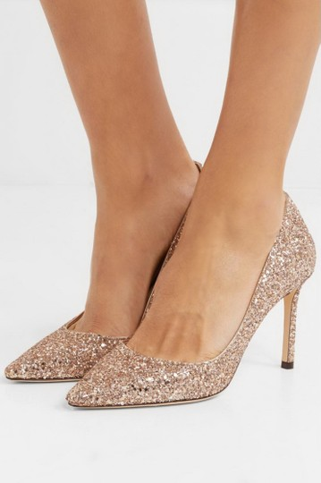 Jimmy Choo Glitter Pointed Toe Pink Gold Pumps Image 6