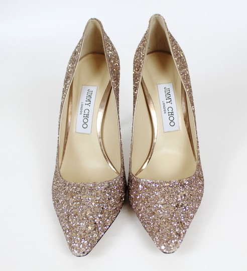 Jimmy Choo Glitter Pointed Toe Pink Gold Pumps Image 7