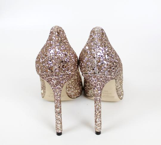 Jimmy Choo Glitter Pointed Toe Pink Gold Pumps Image 8