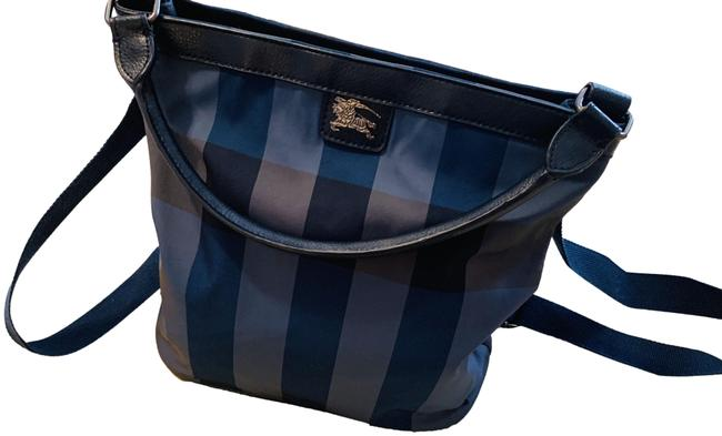 Item - Shoulder and Satchel Three- Way Checkered Blue Leather Backpack