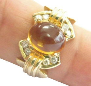 custom Citrine & Diamond Yellow Gold Ring Solitaire W Accent 14Kt 2.16Ct SIZE