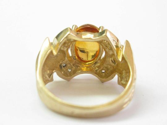 custom Citrine & Diamond Yellow Gold Ring Solitaire W Accent 14Kt 2.16Ct SIZE Image 1