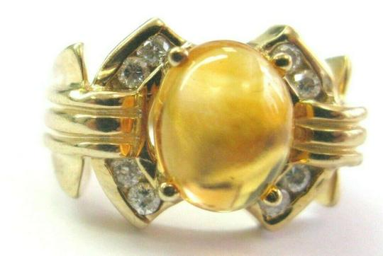 custom Citrine & Diamond Yellow Gold Ring Solitaire W Accent 14Kt 2.16Ct SIZE Image 2