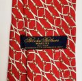 Brooks Brothers BROOKS BROTHERS SILK MENS NECK TIE RED WHITE GOLD YELLOW BRIDLE BUCKLE Image 1