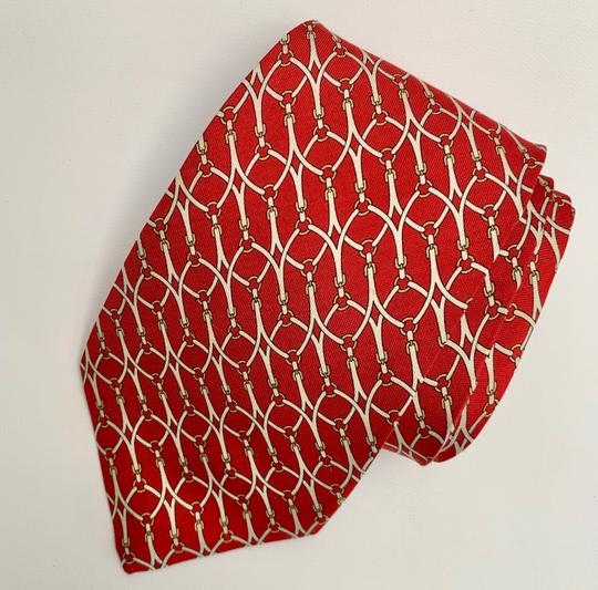 Brooks Brothers BROOKS BROTHERS SILK MENS NECK TIE RED WHITE GOLD YELLOW BRIDLE BUCKLE Image 2