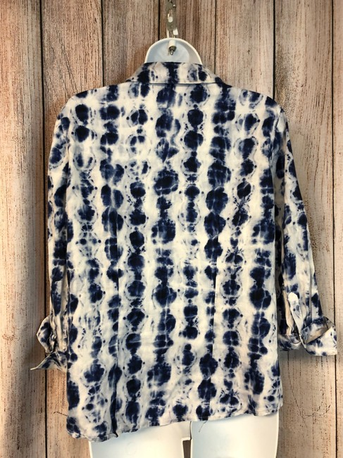 Chico's Blouse Button Down Shirt BLUE/WHITE Image 4