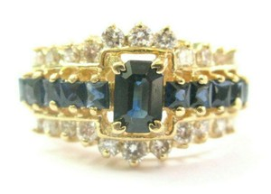 custom Blue Sapphire & Diamond Ring Emerald Cut Center 14Kt Yellow Gold 1.90C