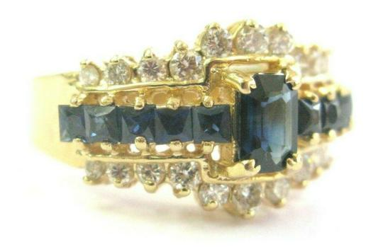 custom Blue Sapphire & Diamond Ring Emerald Cut Center 14Kt Yellow Gold 1.90C Image 1