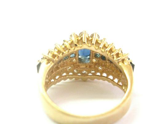 custom Blue Sapphire & Diamond Ring Emerald Cut Center 14Kt Yellow Gold 1.90C Image 3