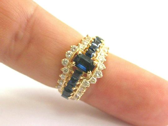 custom Blue Sapphire & Diamond Ring Emerald Cut Center 14Kt Yellow Gold 1.90C Image 5