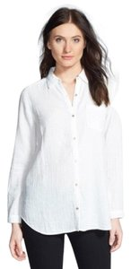 Eileen Fisher Crinkled Cotton Organic Button Down Shirt White