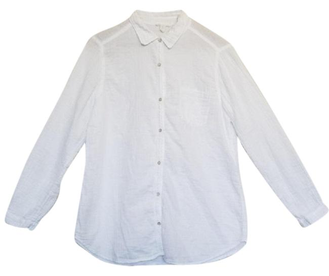 Eileen Fisher Crinkled Cotton Organic Button Down Shirt White Image 1