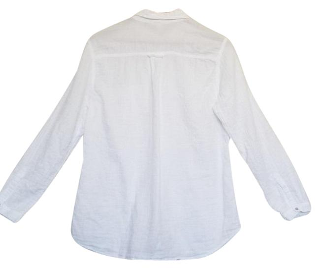 Eileen Fisher Crinkled Cotton Organic Button Down Shirt White Image 2