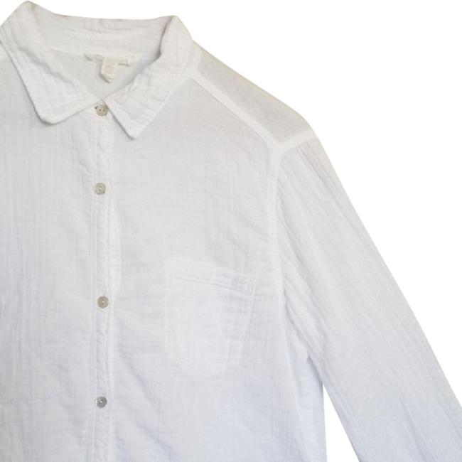 Eileen Fisher Crinkled Cotton Organic Button Down Shirt White Image 3