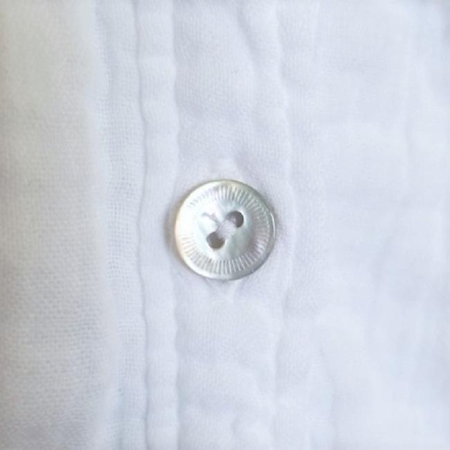 Eileen Fisher Crinkled Cotton Organic Button Down Shirt White Image 4