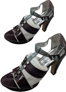 Chinese Laundry Leather Heels Purple, gray Sandals