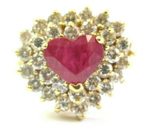 custom Heart Shape Ruby & Diamond Cocktail Ring Solid 18Kt Yellow Gold 3.15Ct