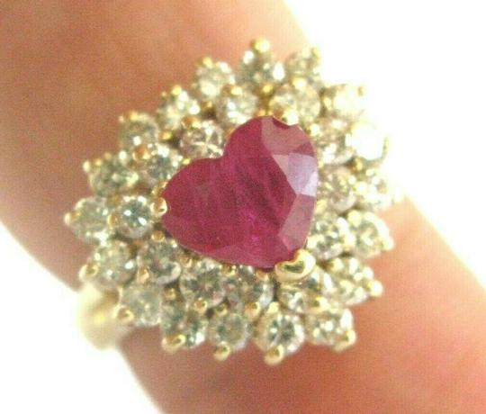 custom Heart Shape Ruby & Diamond Cocktail Ring Solid 18Kt Yellow Gold 3.15Ct Image 2