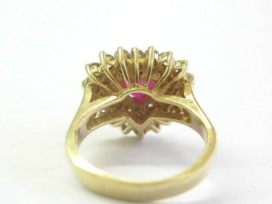 custom Heart Shape Ruby & Diamond Cocktail Ring Solid 18Kt Yellow Gold 3.15Ct Image 3