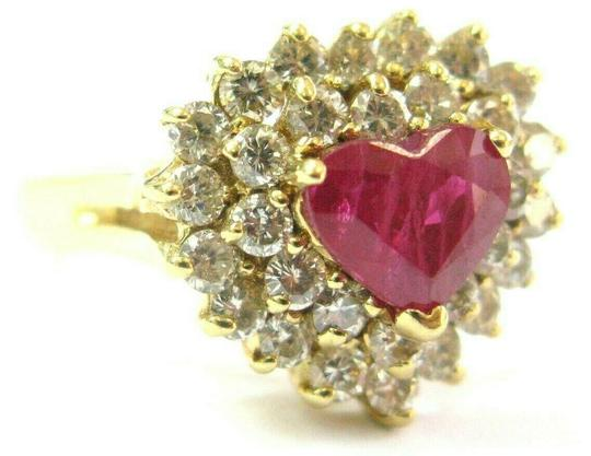 custom Heart Shape Ruby & Diamond Cocktail Ring Solid 18Kt Yellow Gold 3.15Ct Image 4