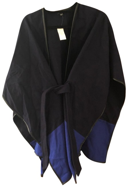 Preload https://img-static.tradesy.com/item/25650082/ann-taylor-blue-and-black-ponchocape-size-os-one-size-0-1-650-650.jpg
