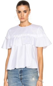 Jonathan Simkhai Pearl Ruffle Cotton Chic Premium Top White