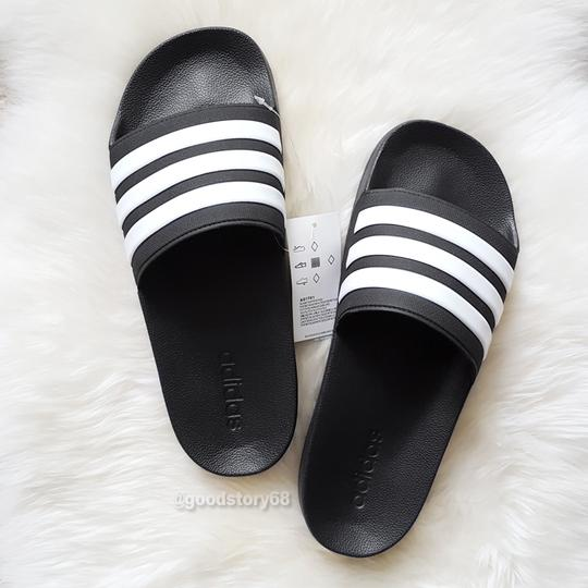 adidas Black/White Sandals Image 1