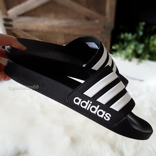 adidas Black/White Sandals Image 4