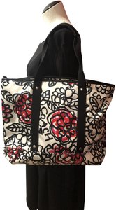 Coach Flowers Hot Tote in White, Black, Pink and Red