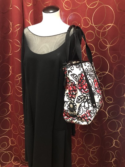 Coach Flowers Hot Tote in White, Black, Pink and Red Image 4