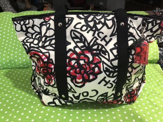 Coach Flowers Hot Tote in White, Black, Pink and Red Image 6